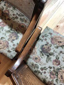 花柄の椅子 張り替え後